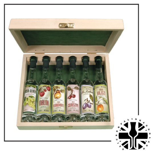 6 Mini Premium bottles of Palinka in a Wooden Gift box