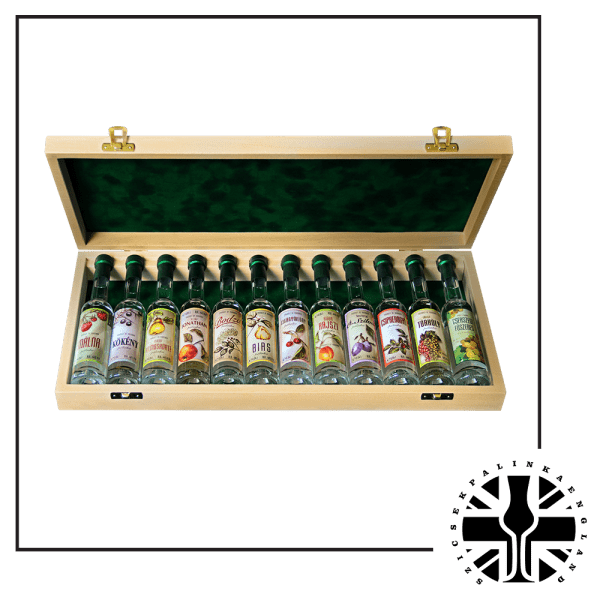 12 Mini Premium bottles of Palinka in the Wooden Box